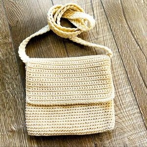 Cream crochet mini shoulder bag